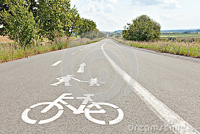 walk-bike-lane-signs-bicycle-walking-painted-asphalt-45751176