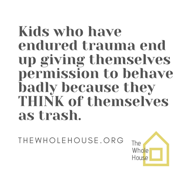 Kids who have endured trauma end up giving themselves permission to behave badly because they THINK of themselves as trash.